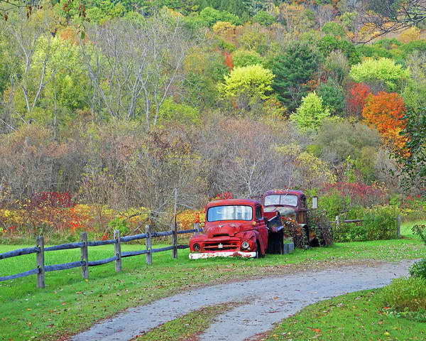 Photograph - Old Rusted Trucks Bethel Vermont Vt New England Foliage Aurumn Trees by Toby McGuire