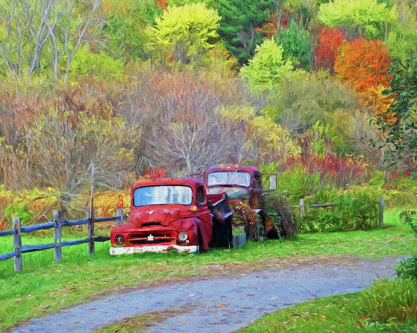 Photograph - Old Rusted Trucks Bethel Vermont Vt New England Foliage Autumn Trees Painterly by Toby McGuire