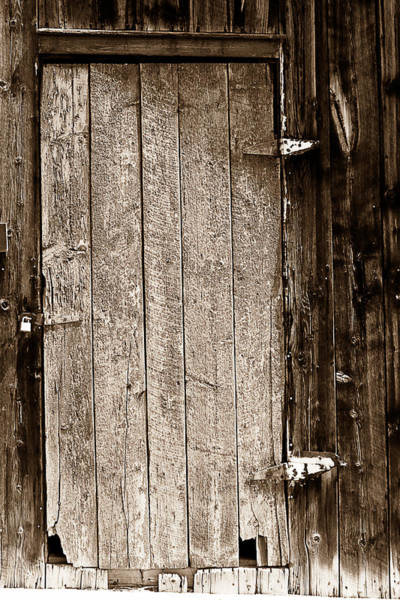 Photograph - Old Rustic Black And White Barn Woord Door by James BO Insogna