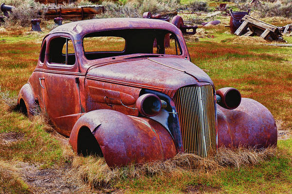 Bodie Ghost Town Wall Art - Photograph - Old Rusty Car Bodie Ghost Town by Garry Gay