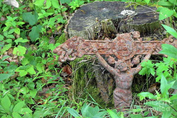 Wall Art - Photograph - Old Rusty Cross Lost In The Woods by Michal Boubin
