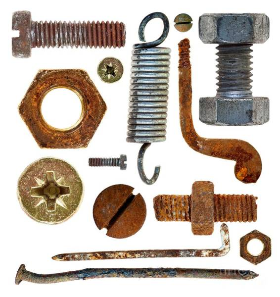Wall Art - Photograph - Old Rusty Screws, Head Nails, Hook And Spring by Michal Boubin
