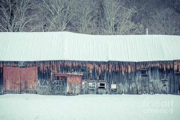 Wall Art - Photograph - Old Sagging Barn In Winter by Edward Fielding