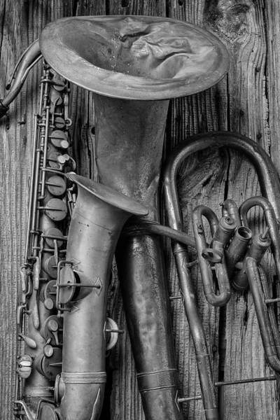 Trumpet Photograph - Old Sax And Tuba by Garry Gay