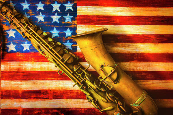 Wall Art - Photograph - Old Saxophone On Wooden Flag by Garry Gay