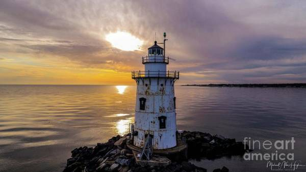 Photograph - Old Saybrook Outer Light by Michael Hughes