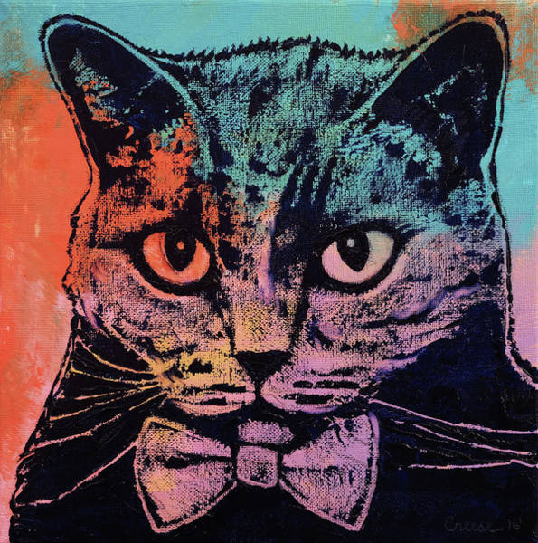 Tuxedo Cat Painting - Old School Kitten by Michael Creese