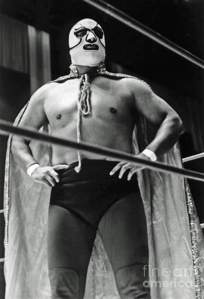 Pro Wrestler Wall Art - Photograph - Old School Masked Wrestler Luchador by Jim Fitzpatrick