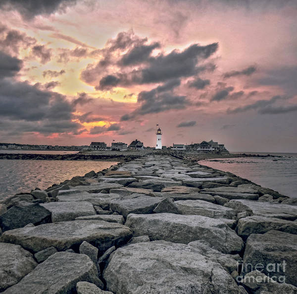 Plymouth Rock Photograph - Old Scituate Light At The End Of The Jetty by Charlie Cliques
