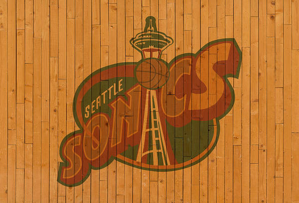 Wall Art - Mixed Media - Old Seattle Supersonics Basketball Gym Floor by Design Turnpike