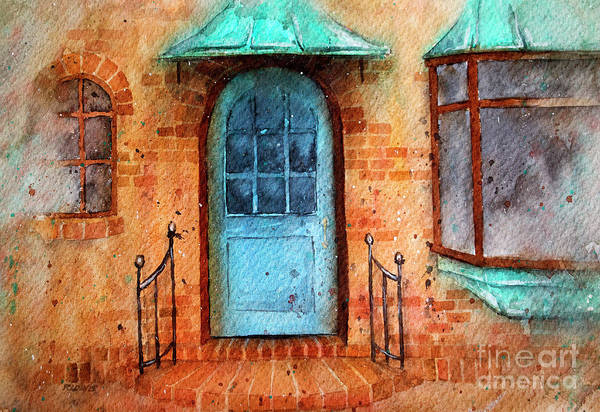 Oxidation Painting - Old Service Station With Blue Door by Rebecca Davis