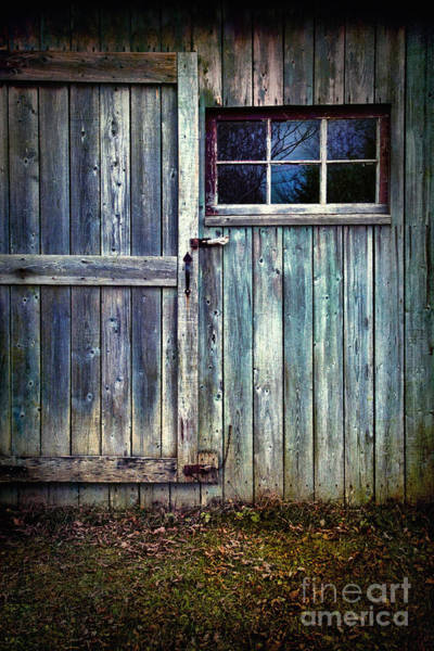 Photograph - Old Shed Door With Spooky Shadow In Window by Sandra Cunningham