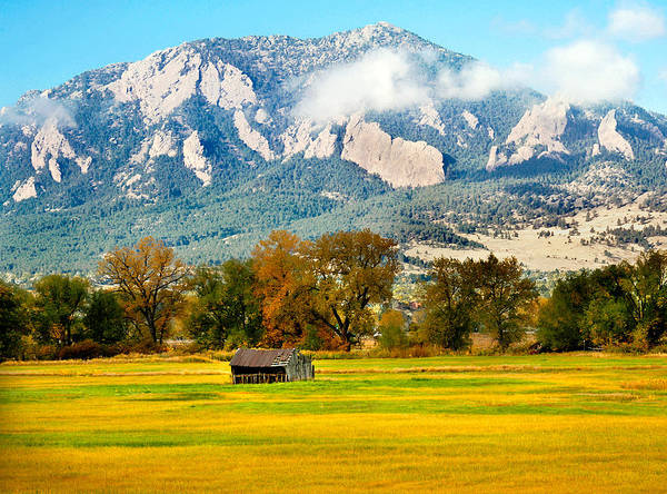Photograph - old shed against Flatirons by Marilyn Hunt