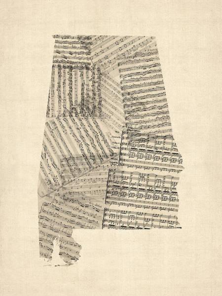 Wall Art - Digital Art - Old Sheet Music Map Of Alabama by Michael Tompsett