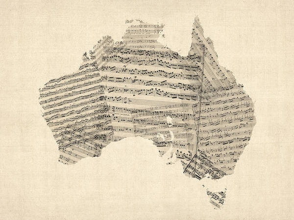 Digital Art - Old Sheet Music Map Of Australia Map by Michael Tompsett