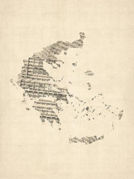 Greece Wall Art - Digital Art - Old Sheet Music Map Of Greece Map by Michael Tompsett