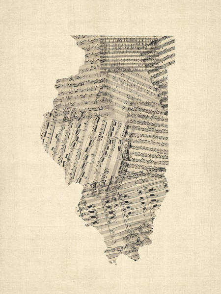 Digital Art - Old Sheet Music Map Of Illinois by Michael Tompsett