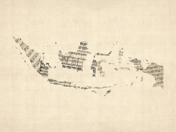 Wall Art - Digital Art - Old Sheet Music Map Of Indonesia Map by Michael Tompsett