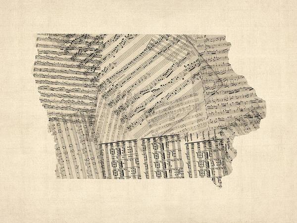 Wall Art - Digital Art - Old Sheet Music Map Of Iowa by Michael Tompsett