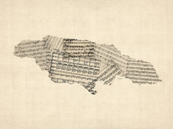 Digital Art - Old Sheet Music Map Of Jamaica by Michael Tompsett