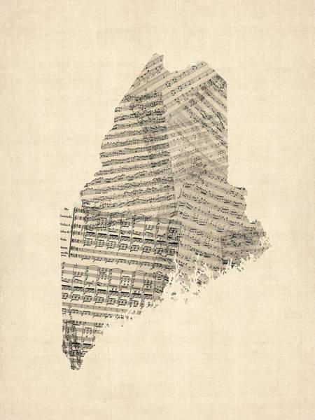 Digital Art - Old Sheet Music Map Of Maine by Michael Tompsett