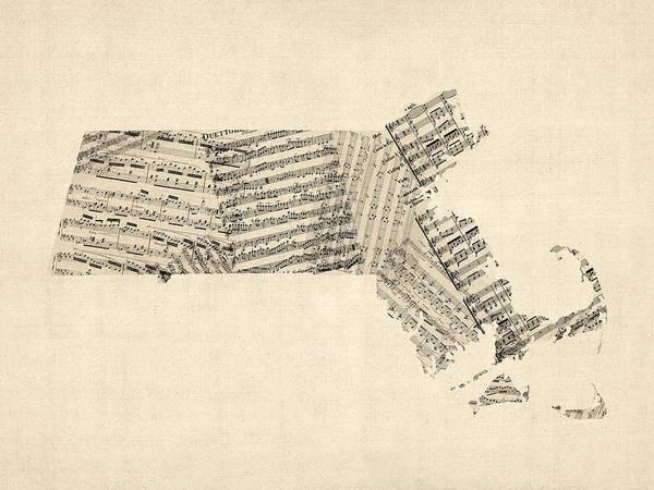 Old Maps Wall Art - Digital Art - Old Sheet Music Map Of Massachusetts by Michael Tompsett