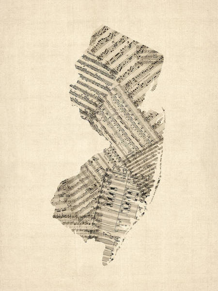 Cartography Digital Art - Old Sheet Music Map Of New Jersey by Michael Tompsett
