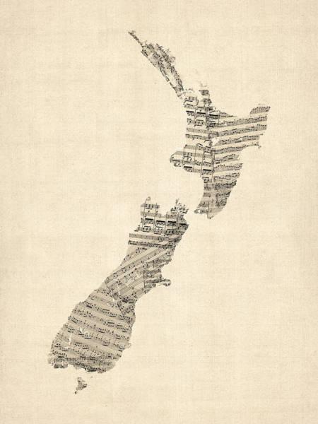 Wall Art - Digital Art - Old Sheet Music Map Of New Zealand Map by Michael Tompsett