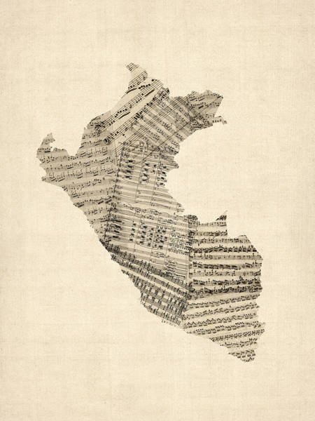 South America Digital Art - Old Sheet Music Map Of Peru Map by Michael Tompsett
