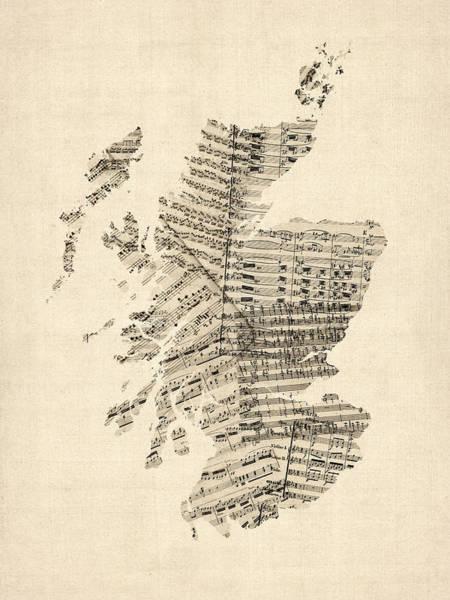 Scotland Wall Art - Digital Art - Old Sheet Music Map Of Scotland by Michael Tompsett