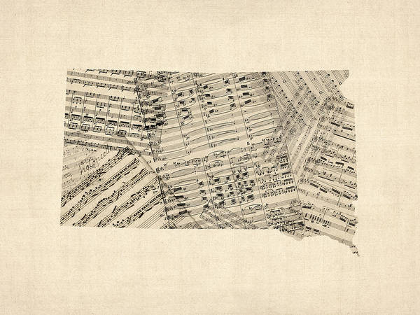Wall Art - Digital Art - Old Sheet Music Map Of South Dakota by Michael Tompsett