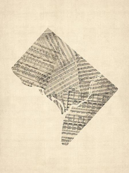 Dc Wall Art - Digital Art - Old Sheet Music Map Of Washington Dc by Michael Tompsett