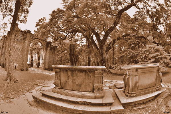Photograph - Old Sheldon Church Ruins Beaufort Sc Sepia by Lisa Wooten