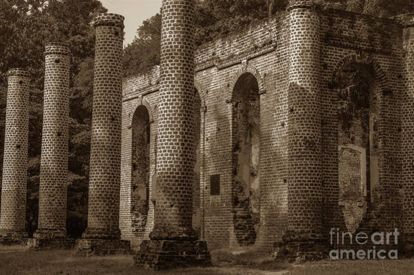 Photograph - Old Sheldon Church Ruins Passage Of Time Sepia by Dale Powell