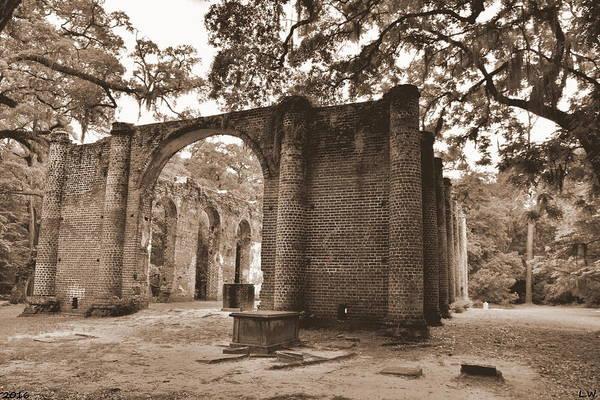 Photograph - Old Sheldon Church Ruins Sepia 3 by Lisa Wooten