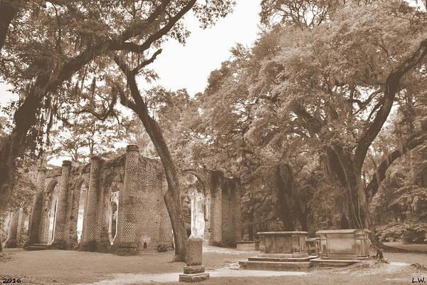 Photograph - Old Sheldon Church Ruins Sepia by Lisa Wooten