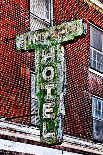Photograph - Old Simpson Hotel Sign by Christopher Holmes