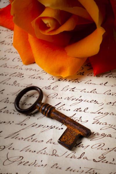 Skeleton Key Photograph - Old Skeleton Key On Letter by Garry Gay