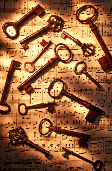 Key Wall Art - Photograph - Old Skeleton Keys On Sheet Music by Garry Gay