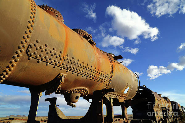 Oxidised Photograph - Old Steam Engine Boiler Uyuni Train Graveyard by James Brunker