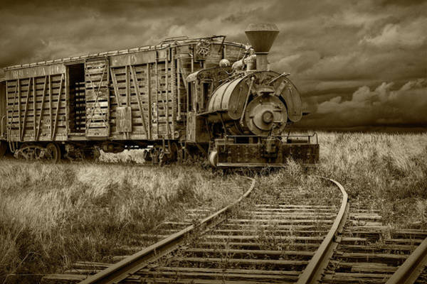 Photograph - Old Steam Locomotive Train Engine In Sepia Tone by Randall Nyhof