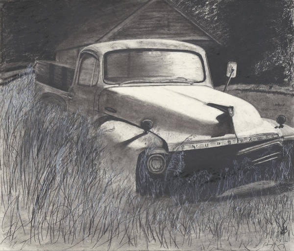 Old Truck Drawing - Old Studebaker by Bryan Baumeister