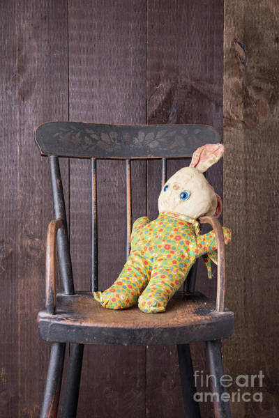 Photograph - Old Stuffed Bunny On High Chair by Edward Fielding