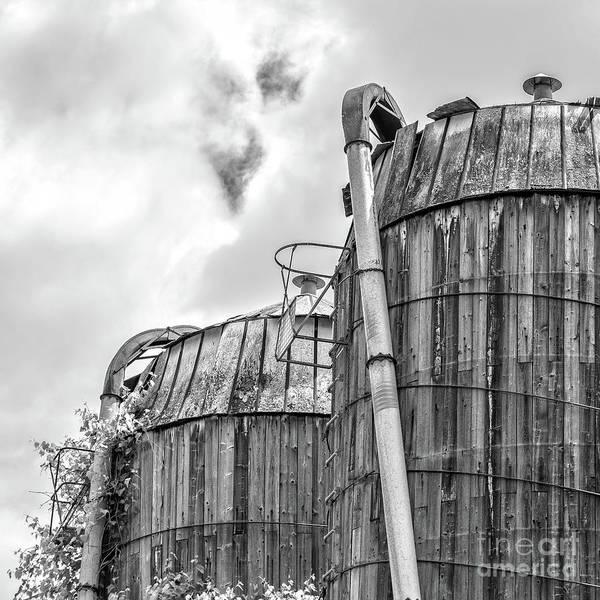 Wall Art - Photograph - Old Texas Wooden Farm Silos by Edward Fielding