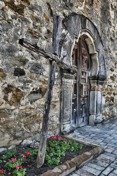Spanish Missions Wall Art - Photograph - Old Timber Cross And Door by Stephen Stookey