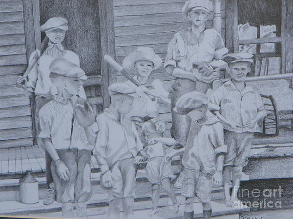 Night Time Drawing - Old Time Baseball by David Ackerson