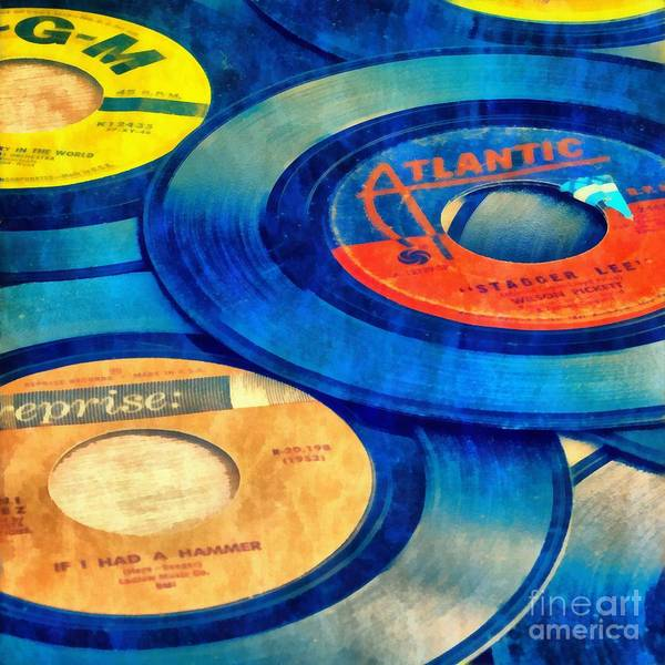 Record Album Wall Art - Painting - Old Time Rock And Roll 45s Vinyl by Edward Fielding