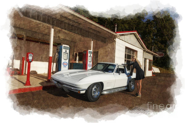 Photograph - Old Time Service Station With 1967 Corvette Model Ally Darst by Dan Friend