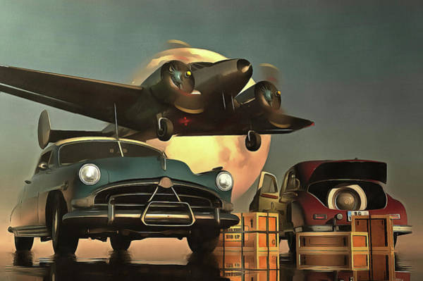 Old-timers With Airplane Art Print