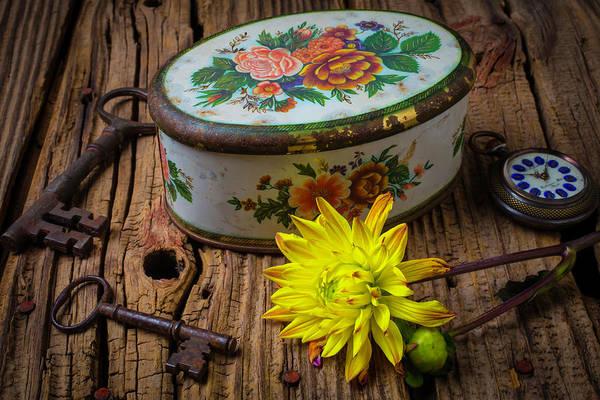 Tin Box Photograph - Old Tin Box And Dahlia by Garry Gay